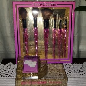 Juicy Couture cosmetic brush set and caddy